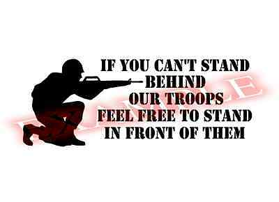Stand Behind Our Troops Support Military Vinyl Decal Sticker Window Glass Car (Support Our Troops Decals)