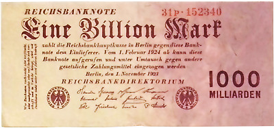 1923 Germany  1 Trillion / 1.000.000.000.000 Mark Banknote