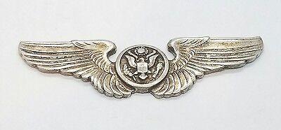 Vintage Sterling Silver 925 Pilots Wings Pin Flight Brooch Air Craft Air Force
