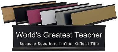 Lotsa Laughs Desk Name Plate - Worlds Greatest Teacher Super Hero