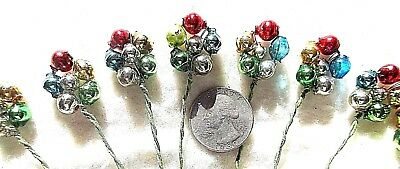 **12**VINTAGE COLORFUL MERCURY GLASS BEAD FLOWER SHAPES W/ WIRE STEMS - Flower Shapes