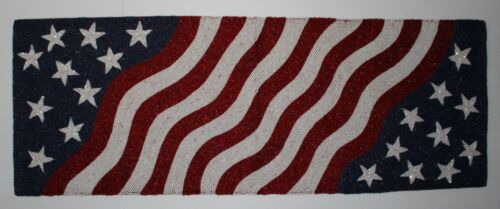 """Patriotic Celebrate Together Stars & Stripes Beaded Table Runner, 13"""" x 36"""" NWT"""
