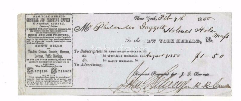 1850 NEW YORK HERALD SUBS. PHILANDER DAGGETT HOLMES HOLE MV PRINTING SHOWBILLS