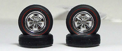 """New Amt Set of Four """"Red Line"""" Tires Four Chrome Wheels & Hubs 1:25 st097"""