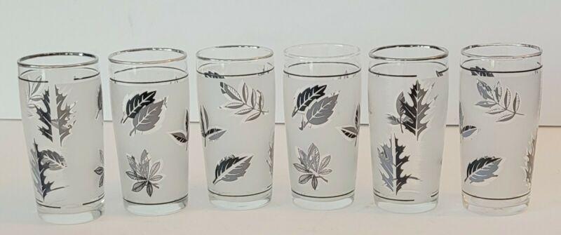 Vintage Libbey Silver Leaf Frosted Juice Glasses Set of 6