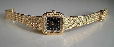 Women's Geneva Gold Finish Nugget style bracelet fashion Dressy Wear stone watch