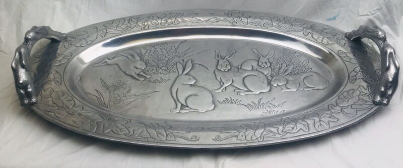 Arthur Court Aluminum Bunny Rabbits Large Oval Tray Platter Handles Easter