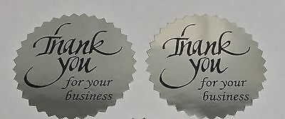 100 Thank You For Your Business 2 Sticker Starburst Silver Foil New Thank You