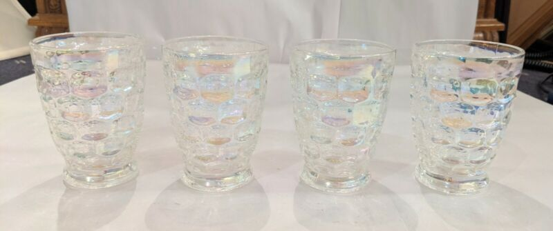 "Set Of Four Vintage Federal Glass Clear Iridescent Tumblers 4"" X 2 3/4"""