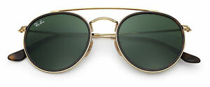 99c4543d1 Ray-Ban RB3647N 001 Round Double Bridge Sunglasses - Gold/Green for ...
