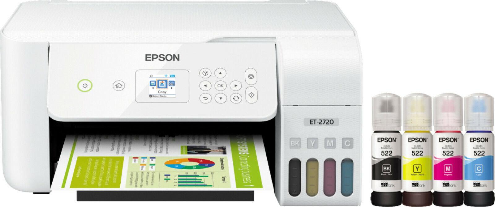 Brand New Epson EcoTank ET-2720 Wireless All-In-One Inkjet Printer - White