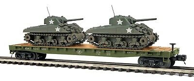 MTH 20-95301 U.S. ARMY FLATCAR WITH 2 SHERMAN TANKS BOTH CAR #s. (2)  OGA 3 RAIL