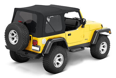 1997-2006 Jeep Wrangler TJ Replacement Soft Top with Tinted Rear Windows Black  for sale  Shipping to South Africa