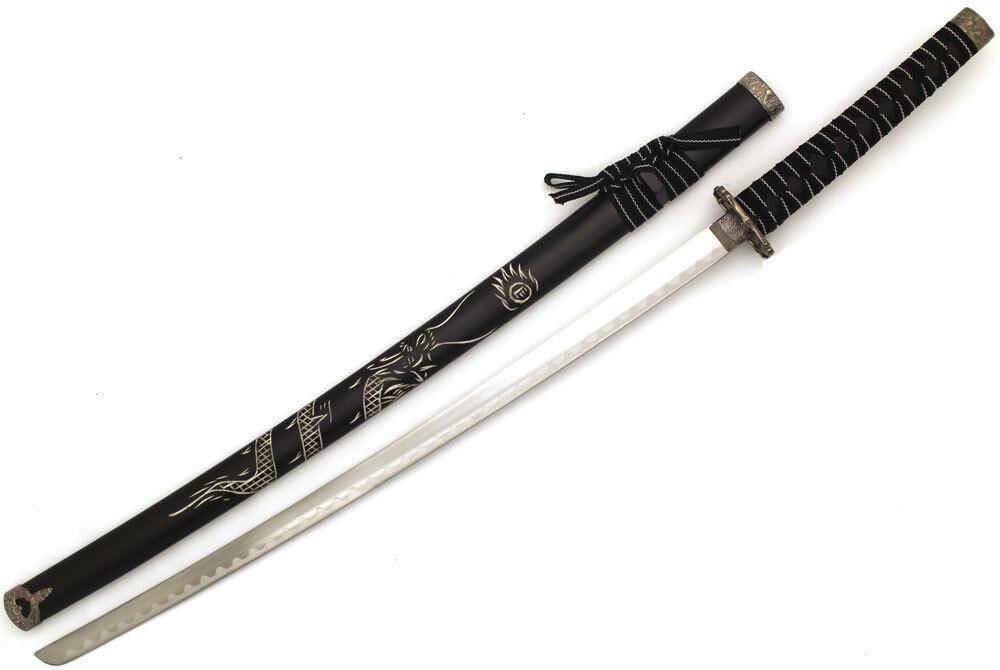 Snake Eye Tactical All Black Samurai Katana sword w/ Free Sword Stand