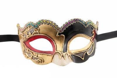 Mask from Venice Colombine Civet Nuvella Red Golden for Fancy Dress 921 V34