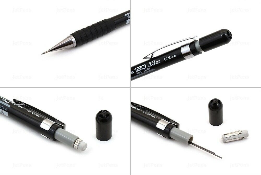 120 A3DX A315 0.5mm Mechanical Drafting Pencils with Free 5-Color Sticky Notes PenteI - Black Barrel 12pcs