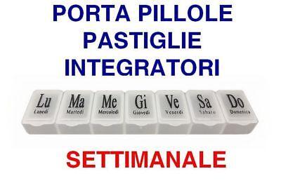 PORTAPILLOLE PORTA PILLOLE SETTIMANALE ITALIANO 7 SCOMPARTI GIORNO PASTIGLIE