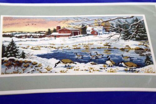 """Winter Sunrise"" Coats & Clark Needlepoint Kit Canadian Geese Winter Scene"