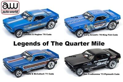 AUTO WORLD ~ NHRA RELEASE 20 LEGENDS 4 CAR SET ~ NEW IN CLAM PACK ~ FITS AFX, AW