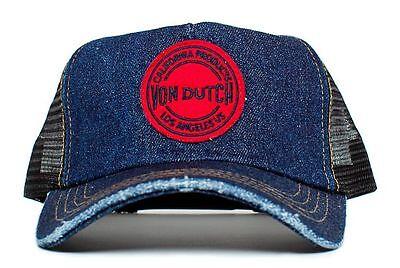 (Authentic Von Dutch Blue Denim California Products Los Angeles Hat Cap Rare)
