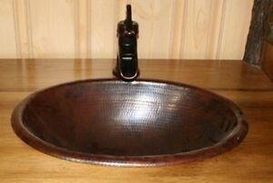 15 Round Copper Drop In Vanity Bathroom Sink