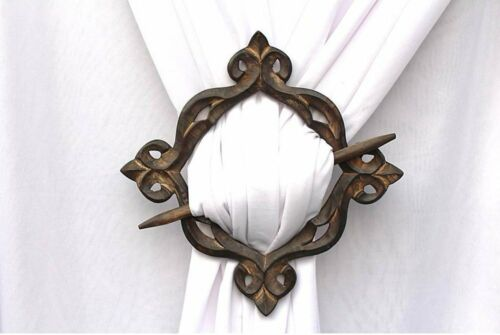 Decorative Antique Look Wooden Curtain Tie Backs Drapery Holdbacks Set of 2
