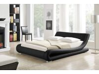 Double bed that will take a 5ft wide mattress.