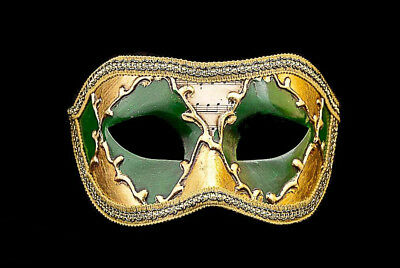 Mask Wolf from Venice Colombine Sinfonia Golden Green for Fancy Dress 796 V39B