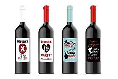 Divorce Party Wine Bottle Labels Celebration Custom Set of 4 Labels 4.25