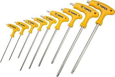 9-tlg Torx mit Loch T-Griff Schlüssel Satz Schraubendreher T10-T50 CrV Stahl