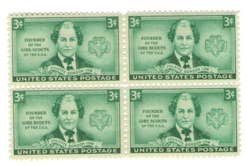 Girl Scouts of America Founder Juliette Gordon Low 69 Year Old Mint Stamp Block