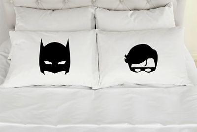 Batman Mask and Robin Mask - Set of (2) Printed Pillowcases for Adults, Teens - Batman Mask For Adults