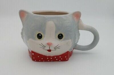 Pier 1 Imports Oversized Gray Kitten Cat Coffee Mug Red White Bow tie