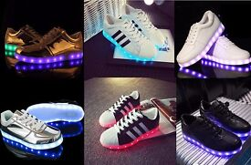 LED Light Up Unisex Shoes Trainers Sneakers Flat Luminous Sneaker USB Charger