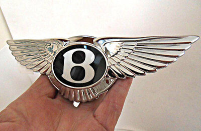 BENTLEY badge, rubber backing, ELECTRIC SWITCH option NEW Genuine LARGE chrome