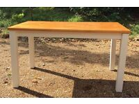 Dining table, pine with pale cream legs originally from Habitat.