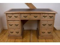 Stripped Pine, Leather Inset, Pedestal Desk