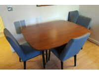 1950s Art Deco Extendable Dining Table with 4 Upholstered Chairs - Collection Only