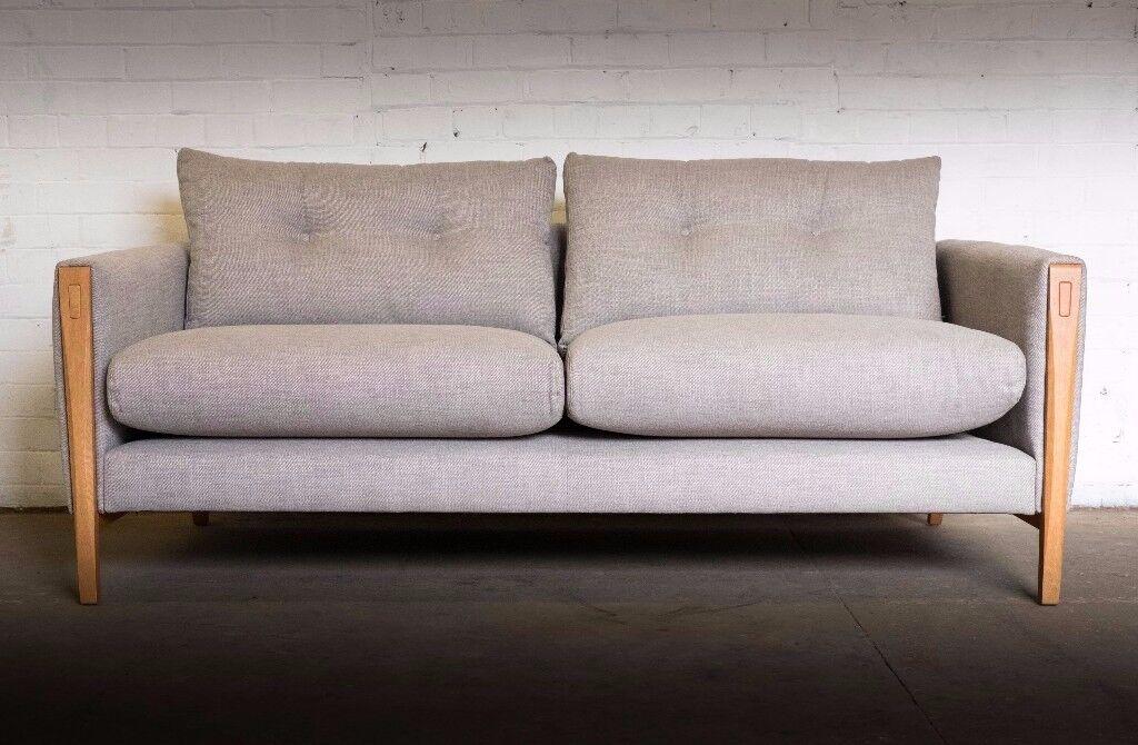 Luxury John Lewis Mikkel Scandinavian Design Large Sofa In Blue Grey Rrp 1450 Uk
