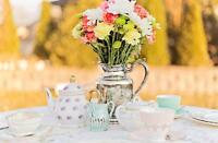 *Vintage tea cups and dishes for Tea Party Birthdays*