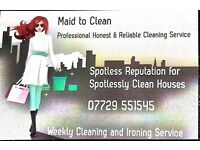 Wow. Domestic Cleaning and Ironing Service Offered In Your Own Home