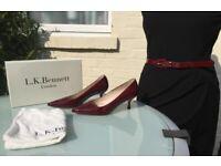 L.K. Bennett Dark Red 'BURY' Heels + Matching Belt - Patent Eu 38 | UK 5 - Worn Once - VGC Cost £205