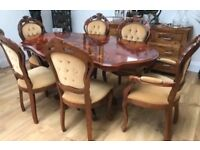ITALIAN STYLE TABLE AND 6 CHAIRS