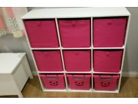 Cube Storage Boxes In Pink Foldable Fabric Boxes & Plastic Smiley Face Boxes With Wheels Girls