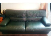 Genuine leather green sofa for sale - FREE