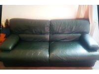Genuine leather green sofa - FREE