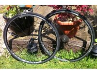 Concept 10 speed 622x 13c (700c) road racer lightweight alloy wheel set, black with quick release