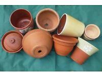 Terracotta and ceramic garden plant pots, ten pots various sizes.