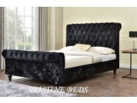 💖🔥High Quality + Best Price🔥💖 Brand New Double/King Crushed Velvet Sleigh Designer Bed+Mattress
