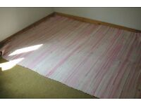"Rug, pink & white thick woven cotton from Greece, 66"" x 89"", see photos"